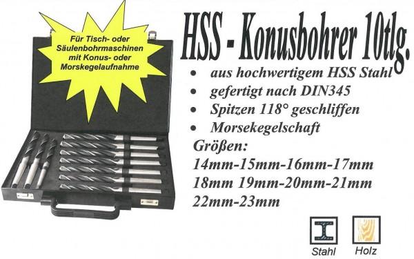 10 tlg. DIN 345 HSS- Konusbohrersatz 14 - 23mm