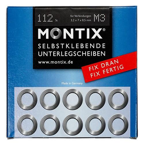 Montix M3 VERZINKT 112 Stück Selbstklebende Unterlegscheiben